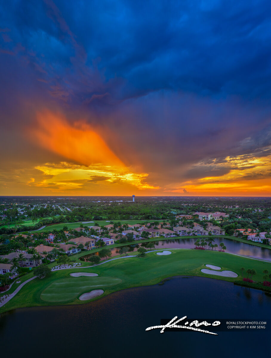 Sunset Aerial Over Palm Beach Gardens Florida Golf Course