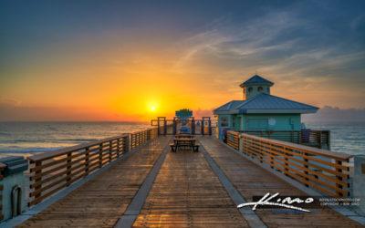 Juno Beach Pier Looking Down the Boardwalk Sunrise