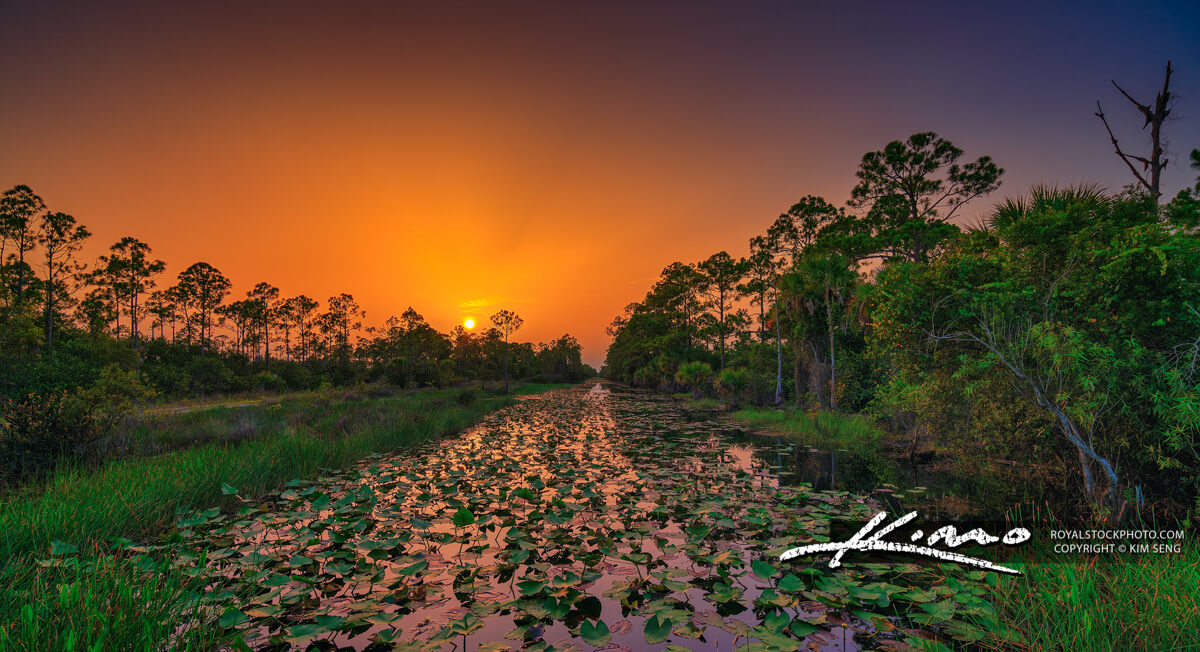 Loxahatchee Slough Sunset Red Dusty Sky Florida Canal