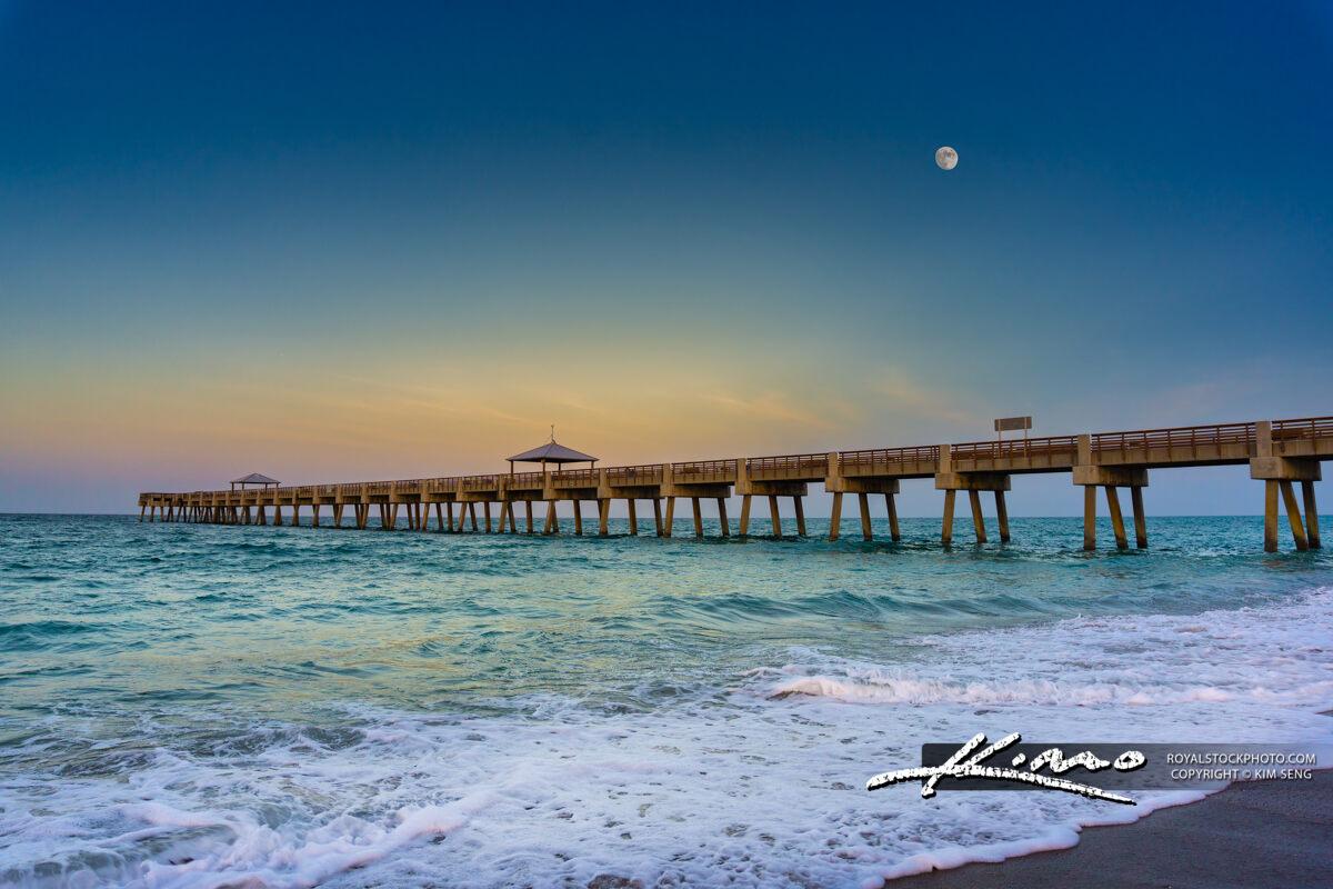 Juno Beach Pier Moon Rise Atlantic Ocean