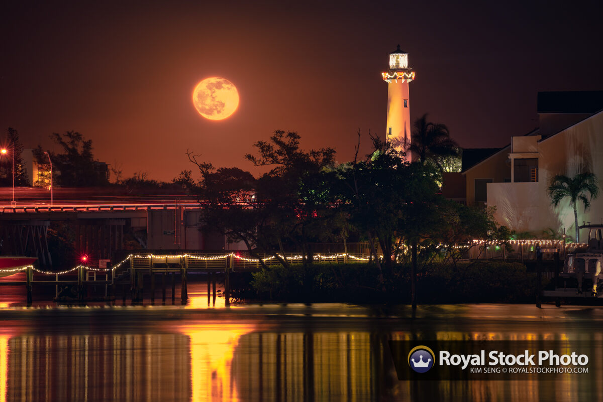 Moon Rising Over the Jupiter Lighthouse Holiday Lights