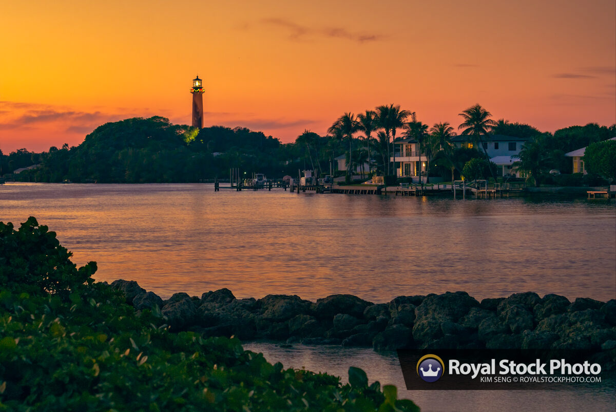 Jupiter Lighthouse Sunset Over the Waterway in Palm Beach County