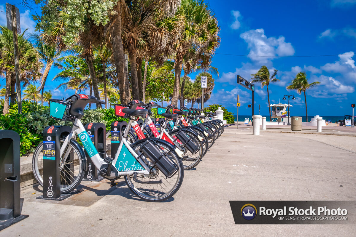 Rental Bicycle Along Curve Sebastian Street Beach Fort Lauderdal