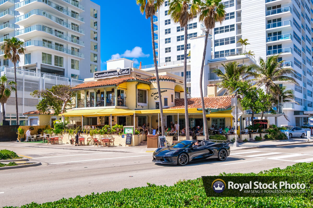 Sports Car on Road at Casablanca Cafe at Beach Fort Lauderdale