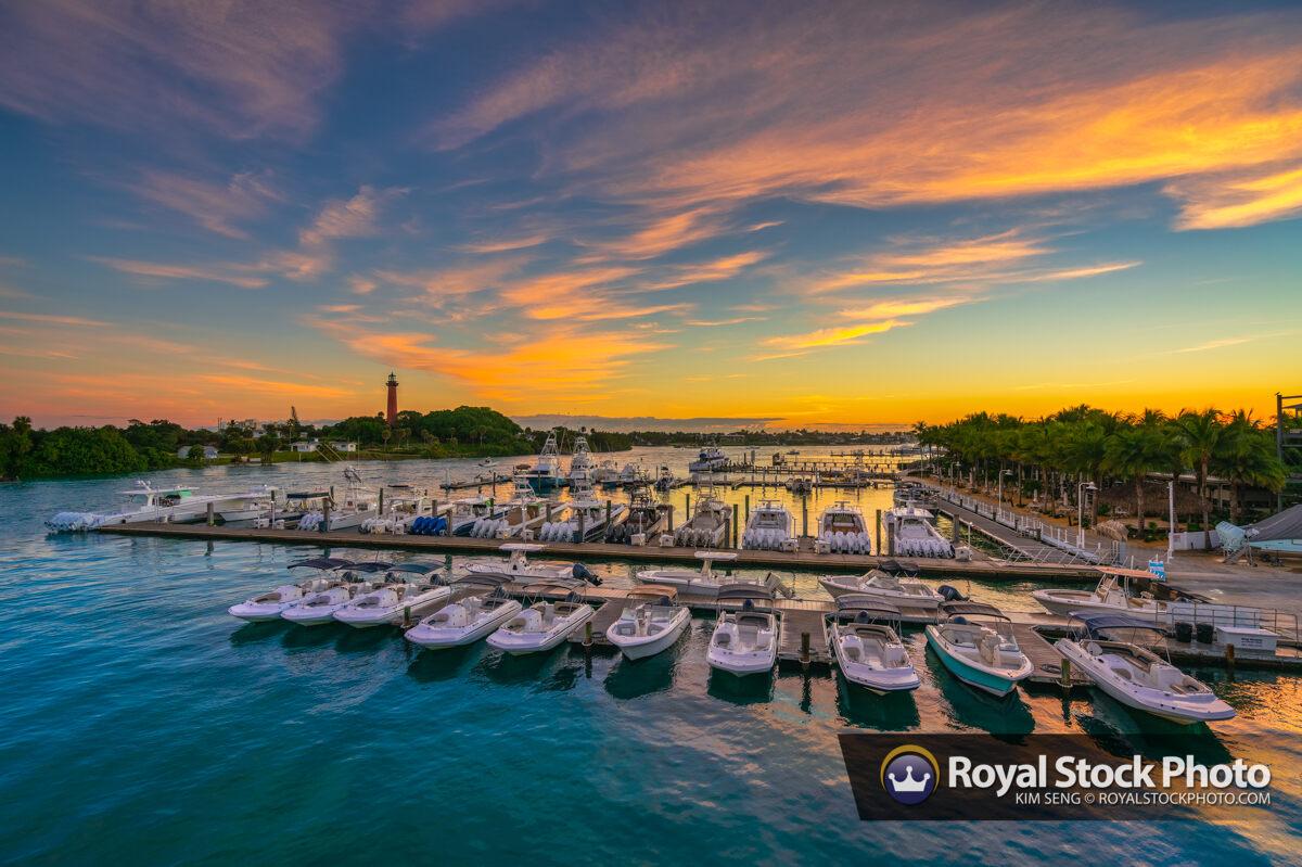 Jupiter Lighthouse Sunrise at the Marina Along the Waterway