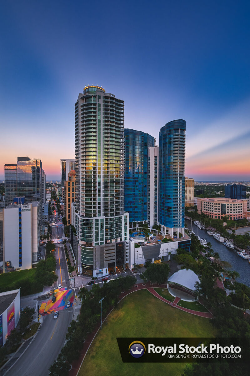Downtown Fort Lauderdale Skyline Las Olas and New River