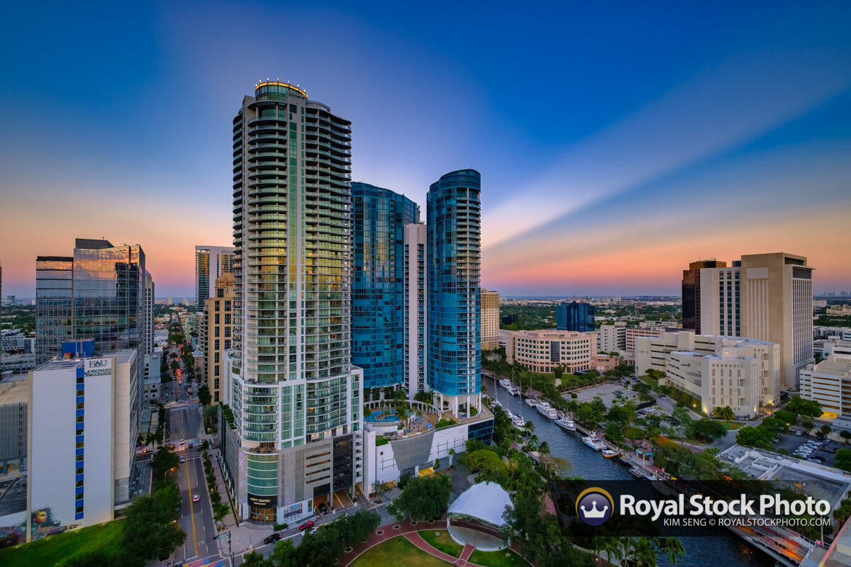 East Rays at Sunset Over Downtown Fort Lauderdale