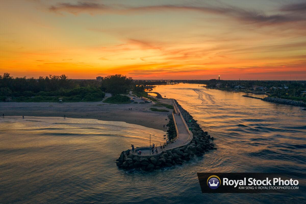 Jupiter Inlet Sunset Fishing Aerial Lighthouse