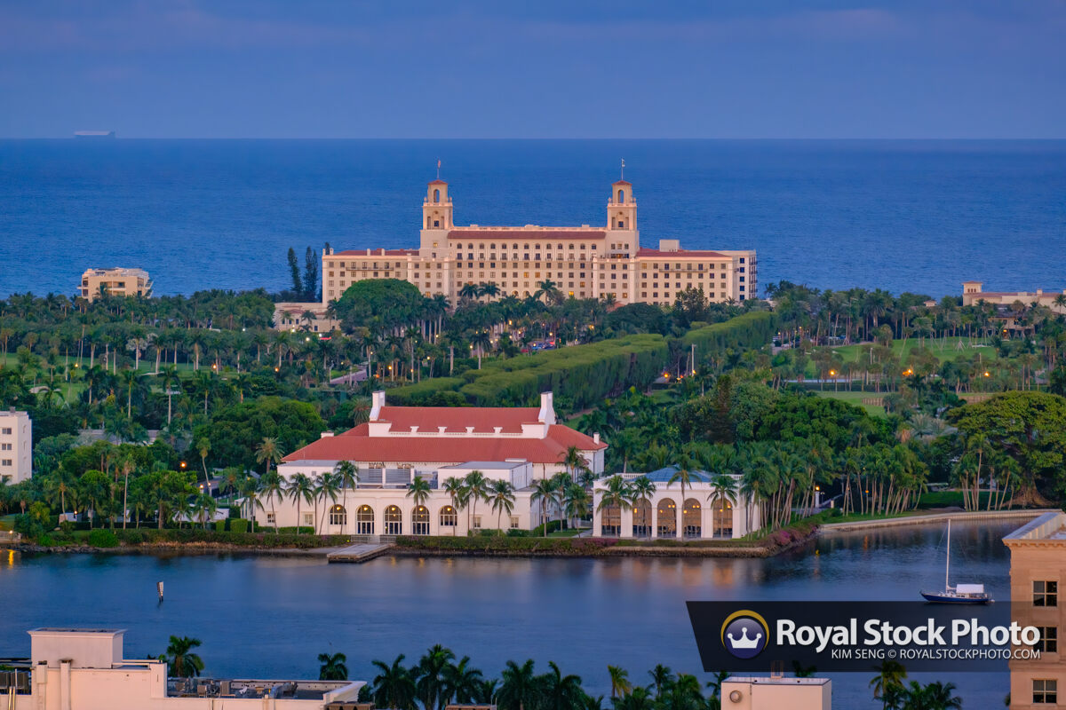 Twilight at the Breakers Hotel and Flagler Museum from Condo