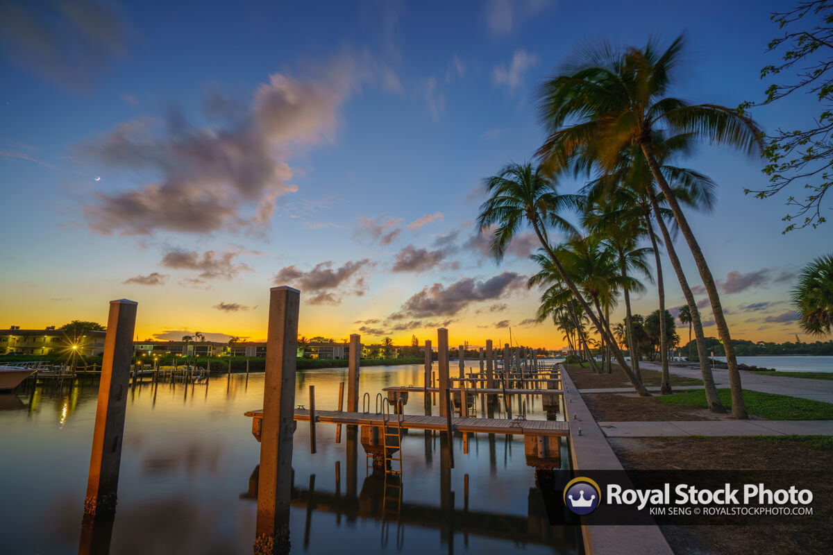 Dubois Boat Dock Sunset and Coconut Trees