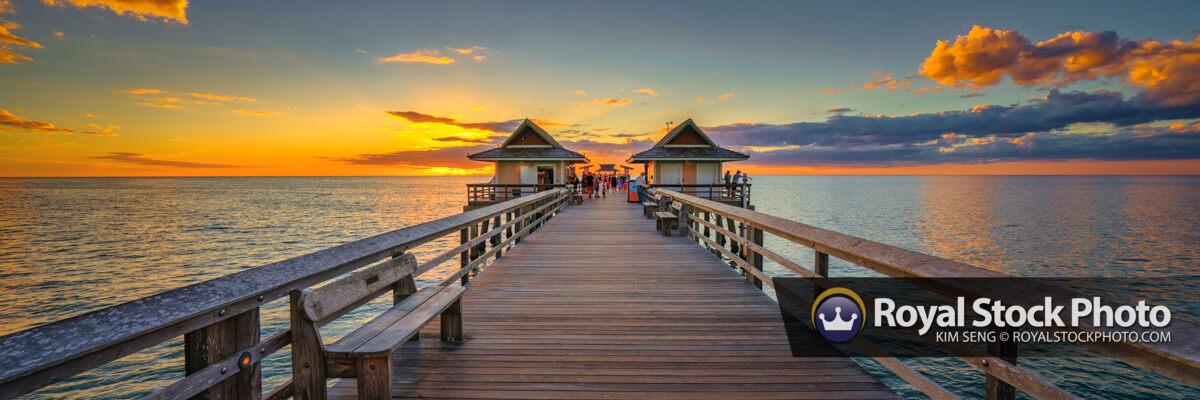 Naples Pier Sunset Panoramic