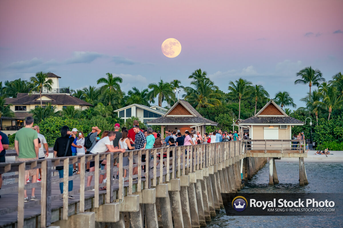 Moon Rise Naples Pier During Sunset