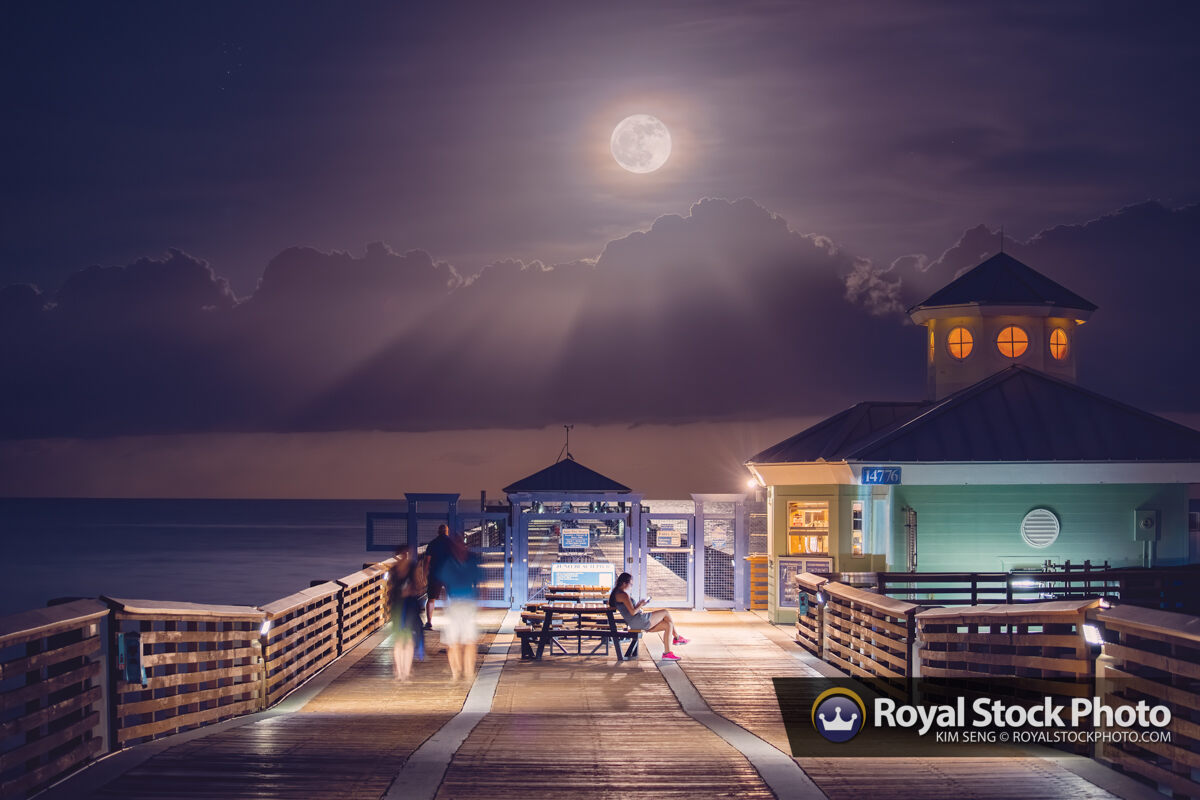 Juno Beach Pier Fullmoon Rise at Night