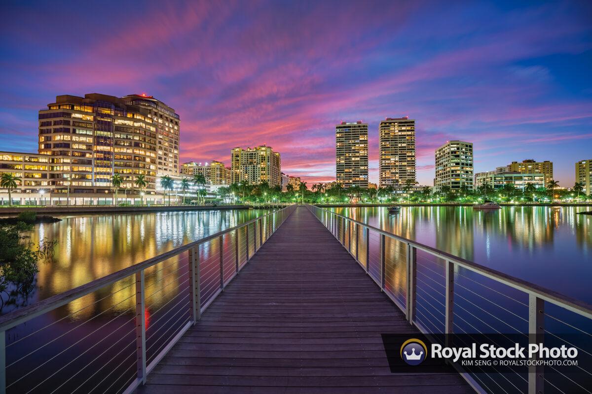 West Palm Beach South Cove Natural Area Purple Sky Sunset