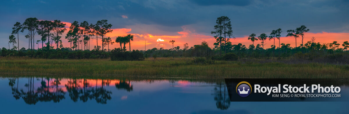 Panorama Florida Landscape Sunset Water Reflection
