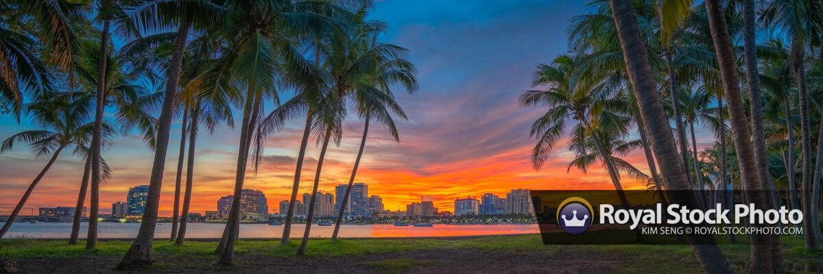 Sunset West Palm Beach Panorama Skyline